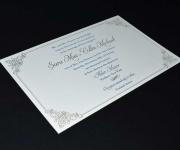 Two color letterpress printed wedding invitation.