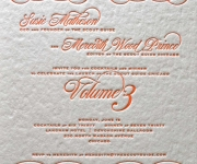 One color letterpress printed corporate invitation.