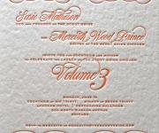 One color letterpress printed corporate invitation.