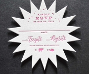One color letterpress printed and die cut reply card.