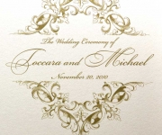 Wedding program cover in metallic gold thermography