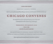 One color letterpress printed corporate save the date card.
