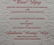 Wedding invitation in one color letterpress printed ink and one blind letterpress impression (un-inked deboss)