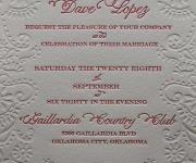 Wedding invitation in one color letterpress printed ink and one blind letterpress impression (un-inked deboss)