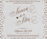 Wedding invitation, printed in one foil and one letterpress ink.
