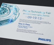 Corporate save the date card.  Printed in a holographic foil and a letterpress ink.