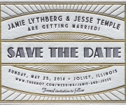 Two color letterpress printed ticket style save the date card.