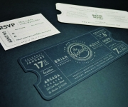 One color letterpress printed and die cut ticket style invitation suite.